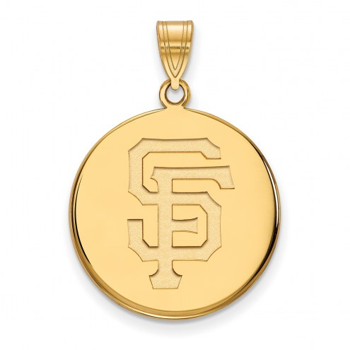 San Francisco Giants Sterling Silver Gold Plated Large Disc Pendant