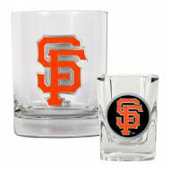 San Francisco Giants MLB 14 Oz Rocks Glass & Square Shot Glass 2-Piece Set