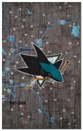 """San Jose Sharks 11"""" x 19"""" City Map Sign"""