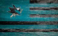 """San Jose Sharks 11"""" x 19"""" Distressed Flag Sign"""