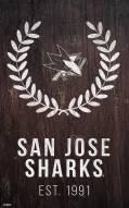 "San Jose Sharks 11"" x 19"" Laurel Wreath Sign"