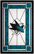 """San Jose Sharks 11"""" x 19"""" Stained Glass Sign"""