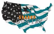 """San Jose Sharks 15"""" USA Flag Cutout Sign"""