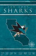 """San Jose Sharks 17"""" x 26"""" Coordinates Sign"""