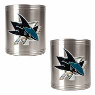 San Jose Sharks 2-Piece Stainless Steel Can Koozie Set - Primary Logo