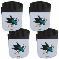 San Jose Sharks 4 Pack Chip Clip Magnet with Bottle Opener