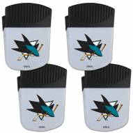 San Jose Sharks 4 Pack Chip Clip Magnet with Bottle Opener