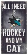 "San Jose Sharks 6"" x 12"" Hockey & My Cat Sign"