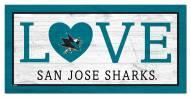 """San Jose Sharks 6"""" x 12"""" Love Sign"""