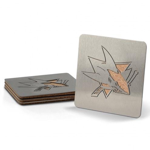 San Jose Sharks Boasters Stainless Steel Coasters - Set of 4