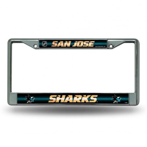 San Jose Sharks Chrome Glitter License Plate Frame