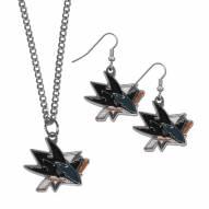San Jose Sharks Dangle Earrings & Chain Necklace Set