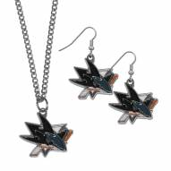 San Jose Sharks Dangle Earrings & Chain Necklace Set