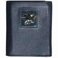 San Jose Sharks Deluxe Leather Tri-fold Wallet in Gift Box
