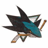 San Jose Sharks Distressed Logo Cutout Sign