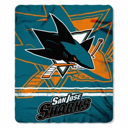San Jose Sharks Fade Away Fleece Blanket