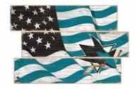 San Jose Sharks Flag 3 Plank Sign