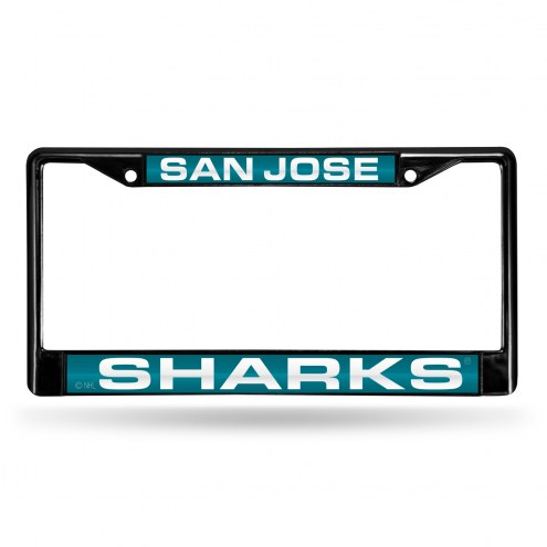 San Jose Sharks Laser Black License Plate Frame
