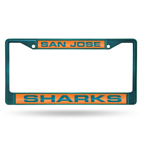 San Jose Sharks Laser Colored Chrome License Plate Frame