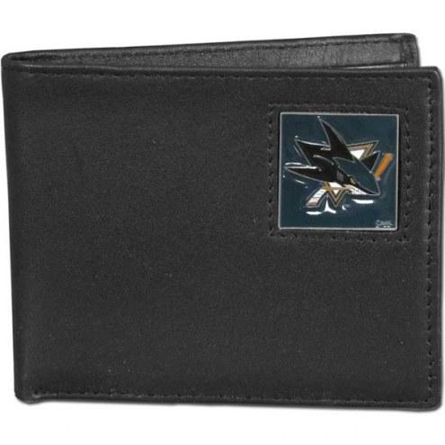 San Jose Sharks Leather Bi-fold Wallet in Gift Box