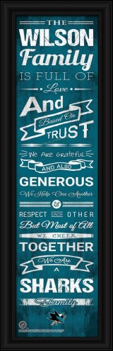 San Jose Sharks Personalized Family Cheer Framed Art