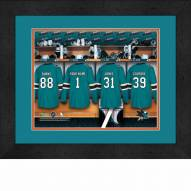 San Jose Sharks Personalized Locker Room 13 x 16 Framed Photograph
