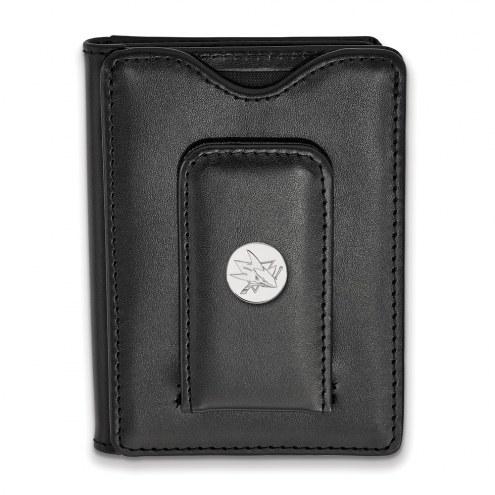 San Jose Sharks Sterling Silver Black Leather Wallet