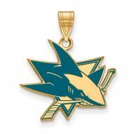 San Jose Sharks Sterling Silver Gold Plated Large Enameled Pendant