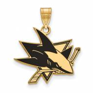 San Jose Sharks Sterling Silver Gold Plated Large Enameled Pendant