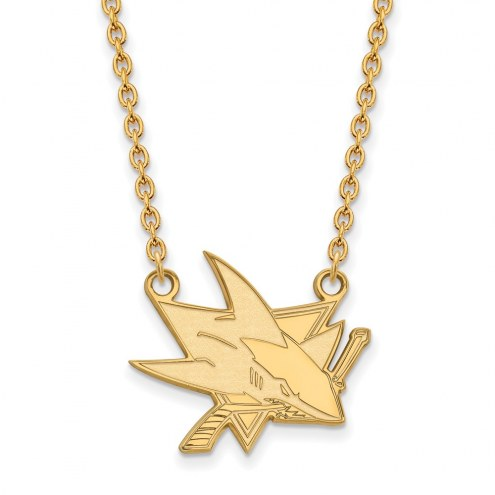 San Jose Sharks Sterling Silver Gold Plated Large Pendant Necklace