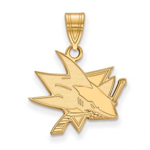 San Jose Sharks Sterling Silver Gold Plated Medium Pendant