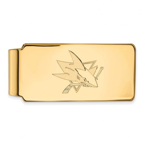 San Jose Sharks Sterling Silver Gold Plated Money Clip