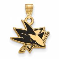 San Jose Sharks Sterling Silver Gold Plated Small Enameled Pendant