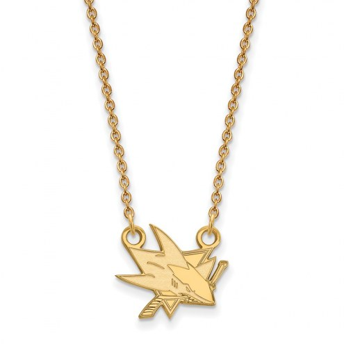 San Jose Sharks Sterling Silver Gold Plated Small Pendant Necklace
