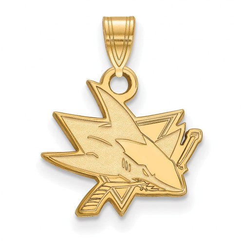 San Jose Sharks Sterling Silver Gold Plated Small Pendant