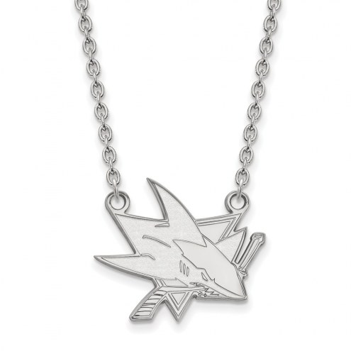 San Jose Sharks Sterling Silver Large Pendant Necklace