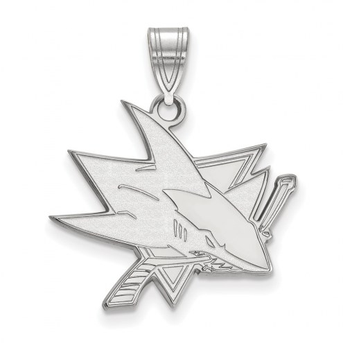 San Jose Sharks Sterling Silver Large Pendant