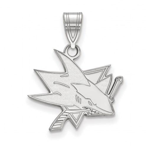 San Jose Sharks Sterling Silver Medium Pendant