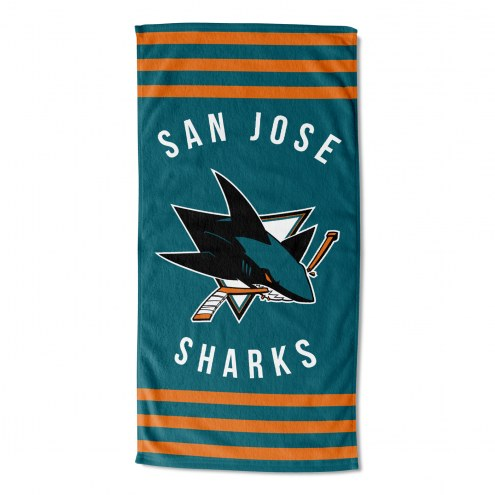 San Jose Sharks Stripes Beach Towel