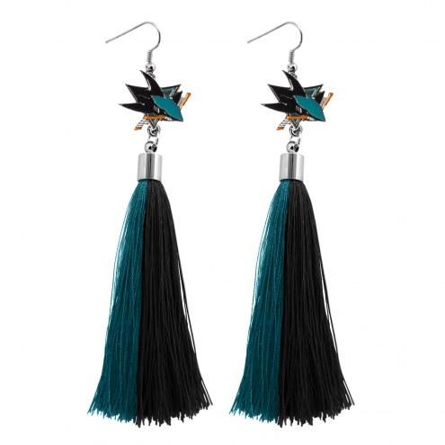 San Jose Sharks Tassel Earrings