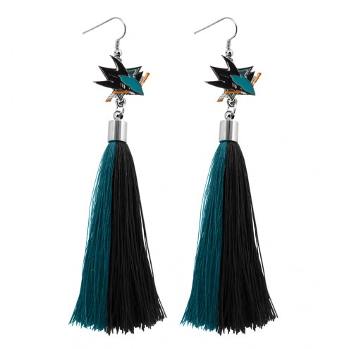 San Jose Sharks Tassel Earrings