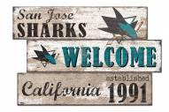 San Jose Sharks Welcome 3 Plank Sign