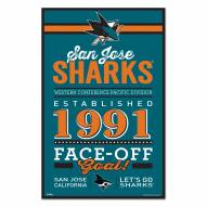San Jose Sharks Established Wood Sign