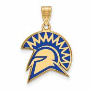 San Jose State Spartans Sterling Silver Gold Plated Large Enameled Pendant