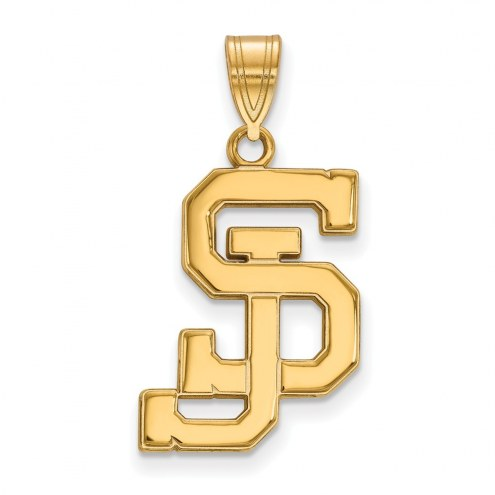 San Jose State Spartans Sterling Silver Gold Plated Large Pendant