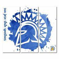 San Jose State Spartans Triptych Watercolor Canvas Wall Art