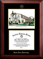 Santa Clara Broncos Gold Embossed Diploma Frame with Campus Images Lithograph