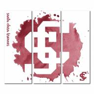 Santa Clara Broncos Triptych Watercolor Canvas Wall Art