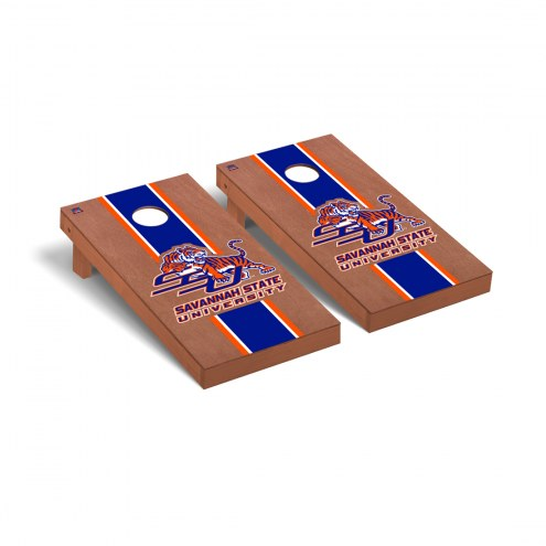 Savannah State Tigers Rosewood Stained Stripe Cornhole Game Set