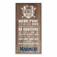 Seattle Mariners Family Rules Icon Wood Framed Printed Canvas
